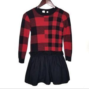 Gap Kids Buffalo Plaid Print Sweater Dress